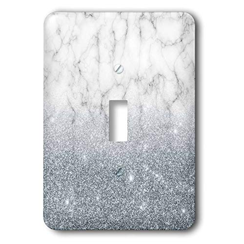 - 3dRose Anne Marie Baugh - Glitter and Bling - Gray Faux Digitally Printed Marble and Glitter Design - Light Switch Covers - single toggle switch (lsp_289228_1)