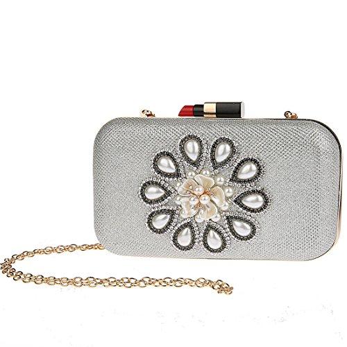 KAXIDY Luxus Damen Clutch Abendtasche Damentasche Handtasche Brauttasche Silber B3igUUN