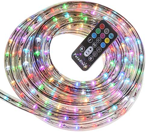 18-Foot Indoor Outdoor LED Color Changing Rope Light with Remote, with 4 Light Motion Options, 1-Pack, White Multi in Clear PVC