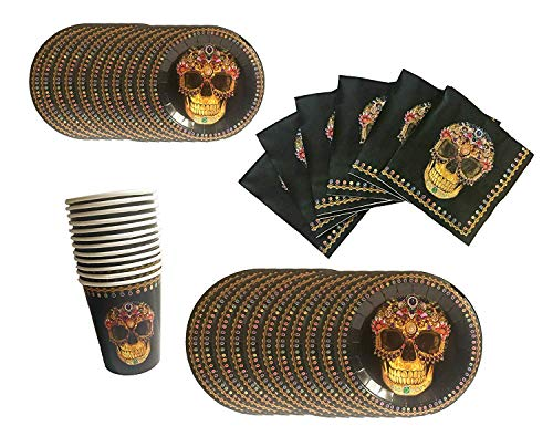 Momentum Day of The Dead-Dia De Los Muertos Paper Plates, Napkins and Cup- Serves -