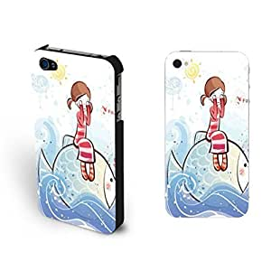 Cute Little Fancy Dream Girl Sitting on Fish Ipod Touch 4 Pretty Animal Ocean Sea Water Design Case For Ipod Touch 4 Cover for Teen Girls