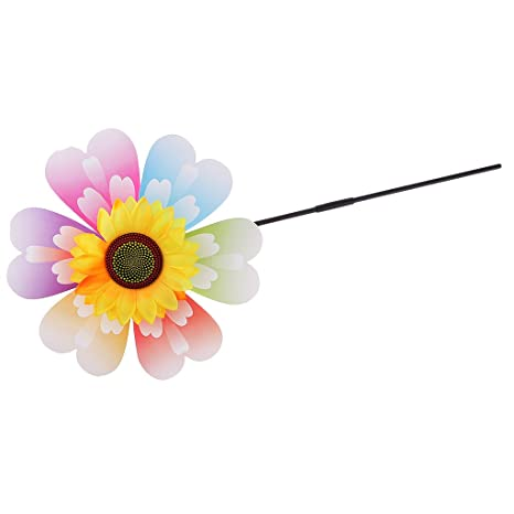 AmWISH Beautiful Sunflower Windmill Wind Whirligig Kids Beach Lawn Toy Outdoor Fun Nursery Venue Décor Random Pattern