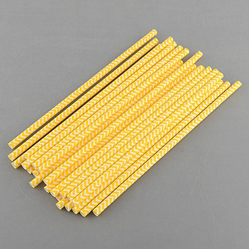 Women's Pub Golf Costumes (Straw Dispensers Wedding Decoration Event Supplies Disposable Flexible Chevron Striped Paper Drinking Straws Party Kids Birthday Extra Long & For Prom Bar/pub Supply 50 Pcs (Yellow))