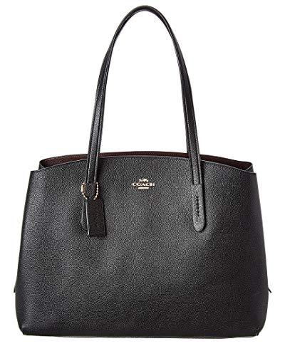 COACH Women's Polished Pebble Leather Charlie 40 Black/Gold One - Black Pebble Coach Leather