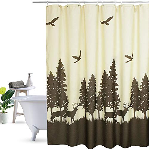 UFRIDAY Fabric Shower Curtain, Waterproof with Lead Weight, Deer in The Forest Design,72 x 72 inchs, Yellow and Brown (Curtain Rods Wildlife)