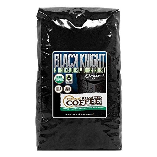 Organic Black Knight Dark Roast Coffee, Artisan Blend, Fair Trade, Whole Bean Bag, Fresh Roasted Coffee LLC. (2 LB.)