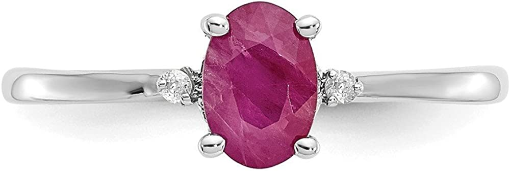 10k White Gold 0.65ct Diamond and Ruby Anniversary Wedding Ring Ideal Gifts for Women