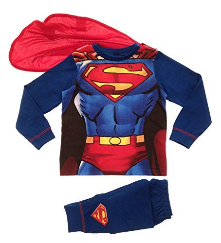 Kids Boys Fancy Dress Up Pyjamas Sleepwear Superman Supersuit (7-8 Years)