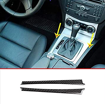 black-1 KIMISS Gear Shift Panel Cover Carbon Fiber Gear Shift Trim for W204 W212,Carbon Fiber Shift Knobs