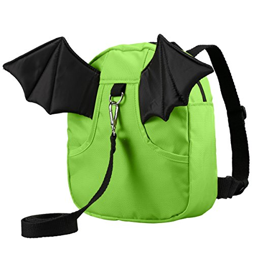3D Toddler Baby Kid Walking Safety Harness Leash Backpack Travel Strap Anti Lost Bag (Little devil green)
