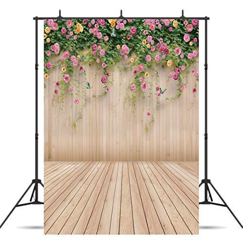Vinyl Wood Flower Spring Photography Backdrop Background for Newborn Shower Birthday Party Photo Studio Backdrop Cloth(5x7) ()