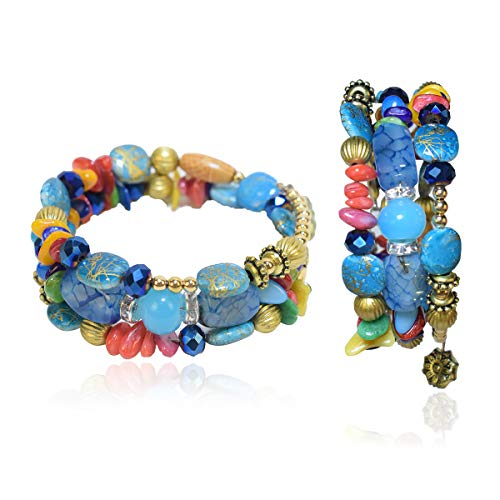 - THEMEJC Chakra Beaded Bangle Dangle Bracelet - Multi-Layer Bohemia Wrap Stretch with Energy Stones as Birthday Gift for Mother Sister Friends, Multi-Color Braided Stretch Bracelet (sea Blue)