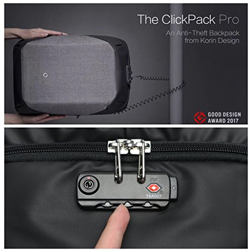Korin Design ClickPack Pro - Anti-theft BackPack Laptop Bag with USB charging port large capacity waterproof TSA travel friendly Black and Grey by Korin Design (Image #4)