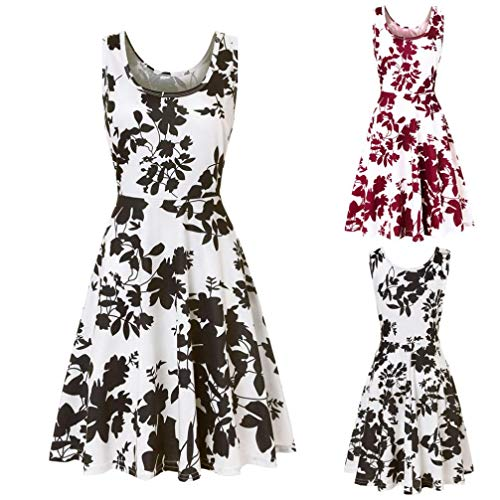 Sleeveless Casual Dress Falda Printing A Summer Floral Line Dress Red Beach Women's NREALY EBqOwwp