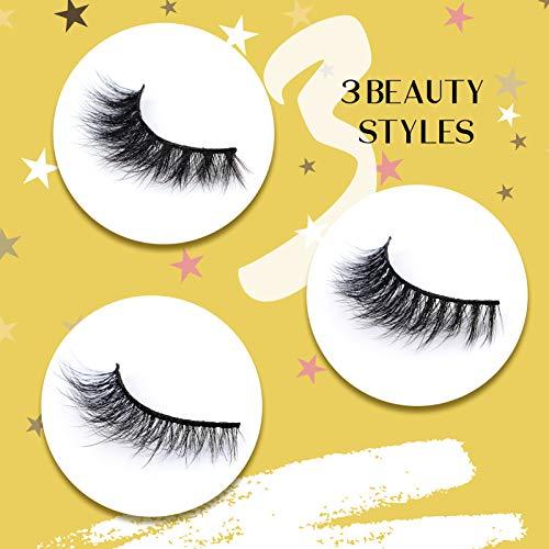 CALAILIS 3D Mink Eyelash, Vegan False Eyelashes, 5D Fake Eyelashes, Fluffy Volume Dramatic Handmade 3D Layered Effect Reusable Eyelashes 3 styles CFD301 3
