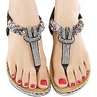 Wensltd Mujer Fashion bohe Rhinestone Flat Zapato Casual sandalias playa Zapatos Plus tamaño