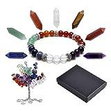 QGEM Tree of Life Chakra Set,Money Tree + 7 Chakra Column Hexagonal Crystals + Chakra Brarcelet Reiki Healing Feng Shui Spiritual Decor Ornaments