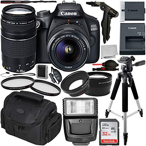 Canon EOS 4000D DSLR Camera with 18-55mm III & 75-300mm III Lens & Essential Accessory Bundle – Includes: SanDisk Ultra 32GB SDHC Memory Card + Wide Angle & Telephoto Lens Attachment + More