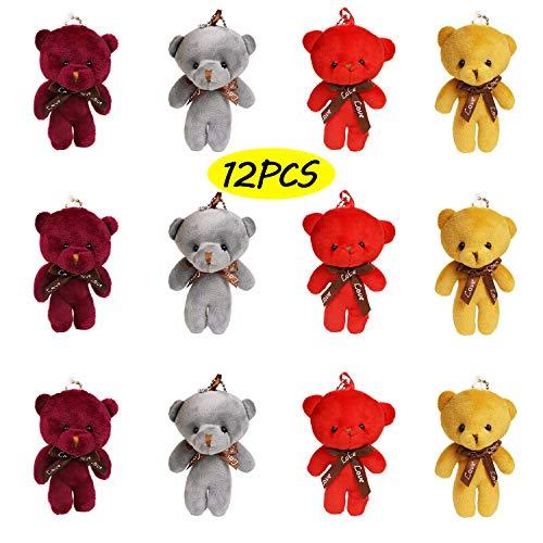 Plush Teddy Bears Stuffed Animals Soft Toy (1 dozen) - Bulk, 4 Colours, Party Favor Bag Fillers for Boys Girls Kids Children (Bear Color Teddy)
