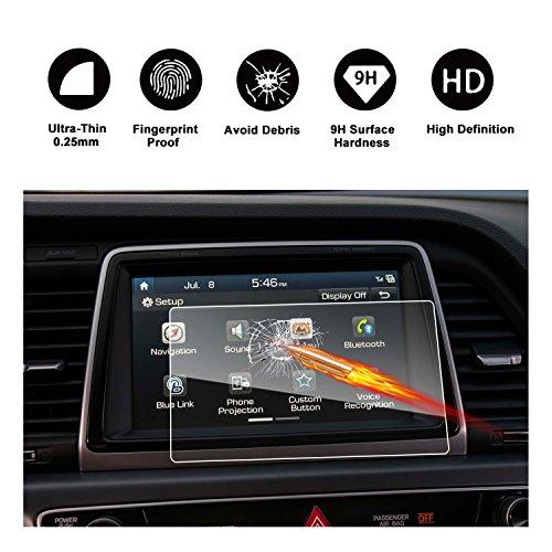 2018 Hyundai Sonata Blue Link Touch Screen Car Display Navigation Screen Protector, RUIYA HD Clear TEMPERED GLASS Car In-Dash Screen Protective Film (8-Inch)