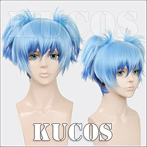 [LanTing Cosplay Wig Assassination Classroom Shiota Nagisa Blue Mix 2 Clip Cosplay Party Fashion Anime Human Costume Full wigs Synthetic Hair Heat Resistant] (Female Flasher Adult Costumes)