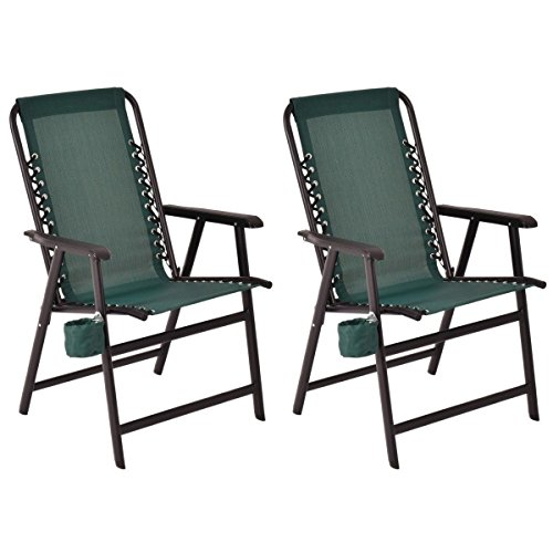 2 pcs of Folding Arm Chair Outdoor Textilene Steel Frame with Cup Holder Green For Sale
