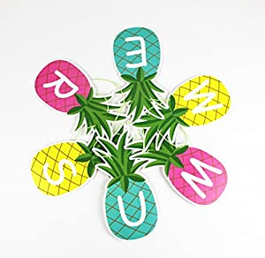 SUNBEAUTY 1.5m Colorful Summer Pineapple Banner Luau Tiki Party Supplies Hawaiian Theme Decor by Pingyang county Mei Chen paper plastic products co., LTD