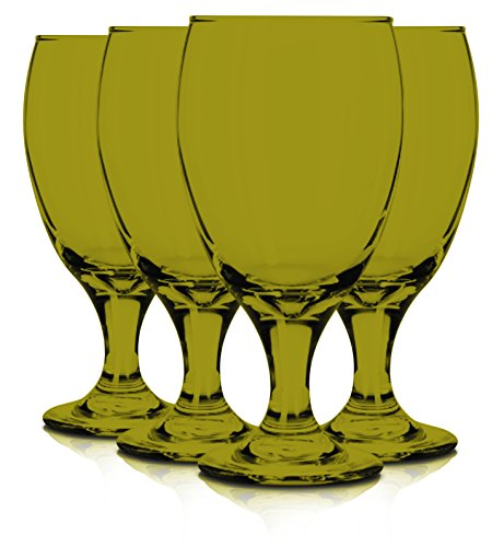 Libbey 6 Piece Goblet Party Glass, 16.25-Ounce Full Amber Color Additional Vibrant Colors Available by TableTop King