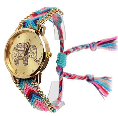 New Brand Handmade Braided Elephant Friendship Bracelet Watch Geneva Watch Ladies Quarzt (Braided Womens Watch)