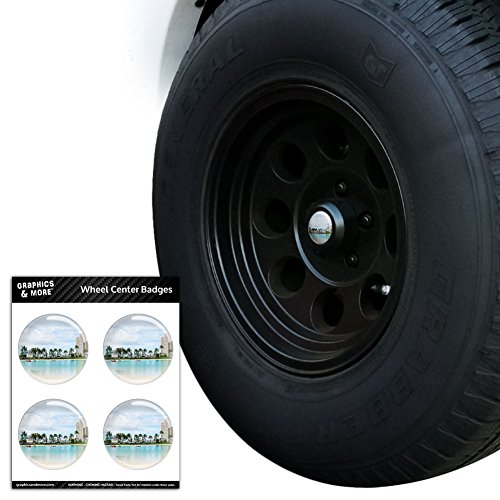 Waikiki Beach Honolulu (Waikiki Beach Honolulu Hawaii Oahu Tire Wheel Center Cap Resin-Topped Badges Stickers - 2.0