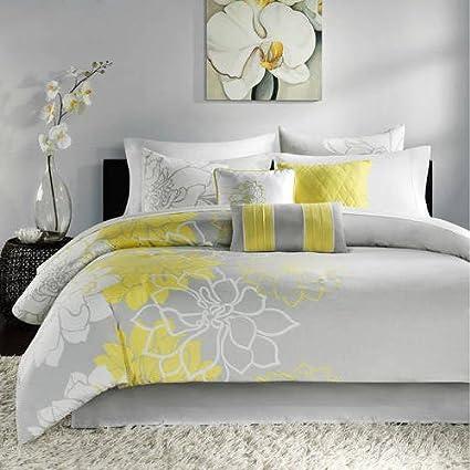 Amazon 7 piece yellow white flower comforter set queen 7 piece yellow white flower comforter set queen beautiful honey grey overscaled floral printed bohemian mightylinksfo