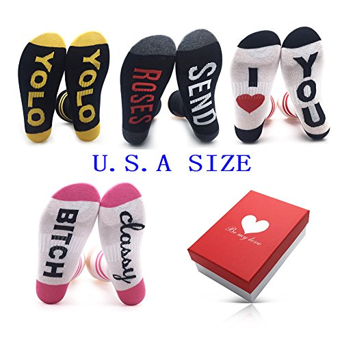 Cotton Girls Womens Socks Fun ¨C Valentines Day Gifts for Her 4 Pack