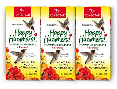 """EZNectar - The Only Ready-to-Use Hummingbird Nectar """"Exactly Like Flower Nectar."""" Patented, Preservative & Dye Free, Hummingbird Food - Nectar (3 Piece) 101.4 FL OZ TOTAL"""