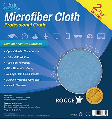 ROGGE Professional Microfiber Cloth [2 Pack] - 100% Split Microfiber, Optical Grade, Lint Free, Extra Large (15x15in), Washable, Cuttable ()