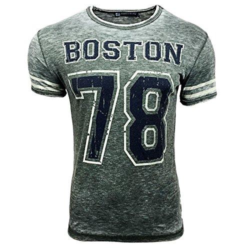 R-NEAL Clubwear Kurzarm Herren BOSTON T-Shirt Washed Optik Shirt RTN-16703 NEU, Größe:XL, Farbe:Grau
