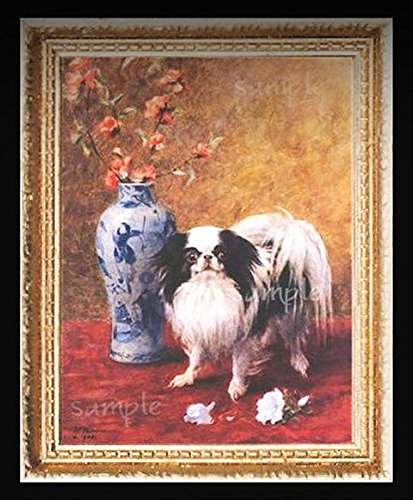 Japanese Chin Dog Miniature Dollhouse Picture - My Mini Garden Dollhouse Accessories for Outdoor or House Decor