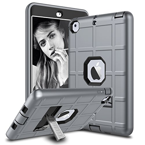 iPad Mini Case, iPad Mini 2 Case, iPad Mini Retina Case, Elegant Choise Heavy Duty Three Layer Armor Defender Protective Case Cover with Kickstand Compatible with iPad Mini 1/2/3 (Grey)