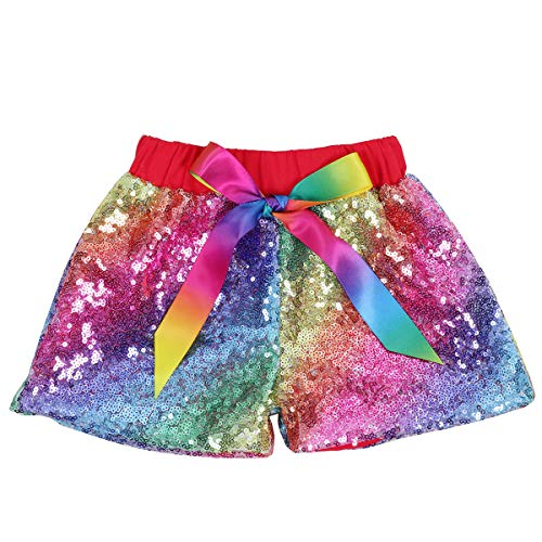 Cilucu Baby Girls Sequin Shorts Toddlers Sparkle Short Pants Kids Birthday Shorts Glitter on Both Sides Rainbow Red 12months]()