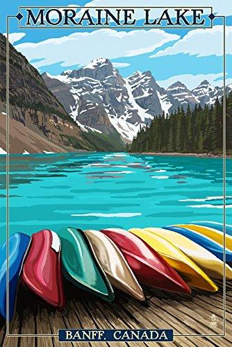 - Banff, Alberta, Canada - Moraine Lake and Canoes (9x12 Art Print, Wall Decor Travel Poster)