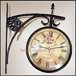 UNIQUEWONDERITEMS NAPA Vintage 1747 Victoria Train Railway Station Clock 2 Sided Battery Powered