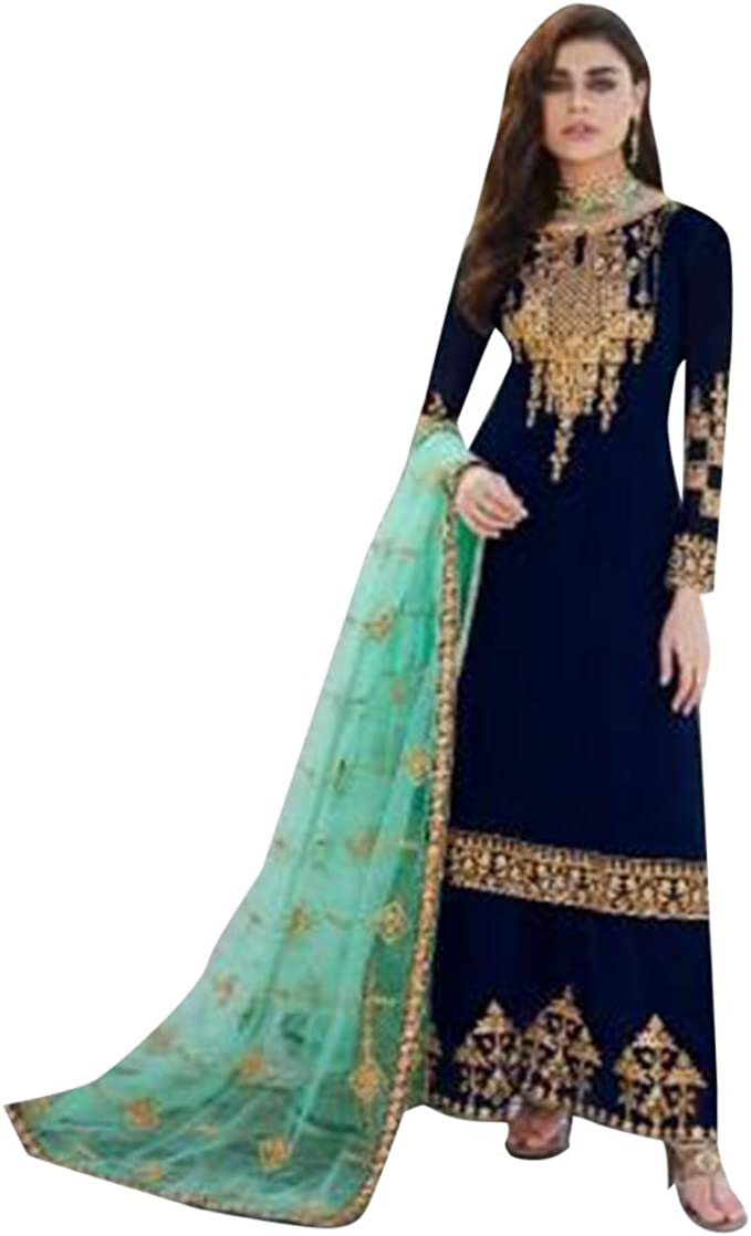 Amazon Com N Blue Georgette With Gotta Patti Work Designer Salwar Suit Palazzo Punjabi Muslim Women Party Wear Un Stitched 9168 Clothing