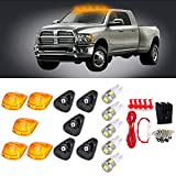 CCIYU Cab Marker Light 5X White T10-6-5730-SMD Top Clearance Roof Running Bulbs 5X Amber Cab Roof Light Covers +1 Set Wiring Pack Switch Assembly Wire Harness 1999-2015 ford F250 F350 F450