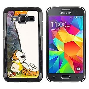 LECELL--Funda protectora / Cubierta / Piel For Samsung Galaxy Core Prime -- Tigre y Boy --