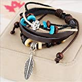 TEMEGO Jewelry Mens Womens Genuine Leather Vintage Beads Leaf Wrap Charm ...