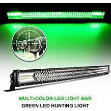 """Curved LED Light Bar Rigidhorse 52"""" 450W Dual Color LED Green Light Bar Combo White&Green Lights Beam Driving Lights LED Bar For Off Road SUV ATV Jeep Truck Boat"""