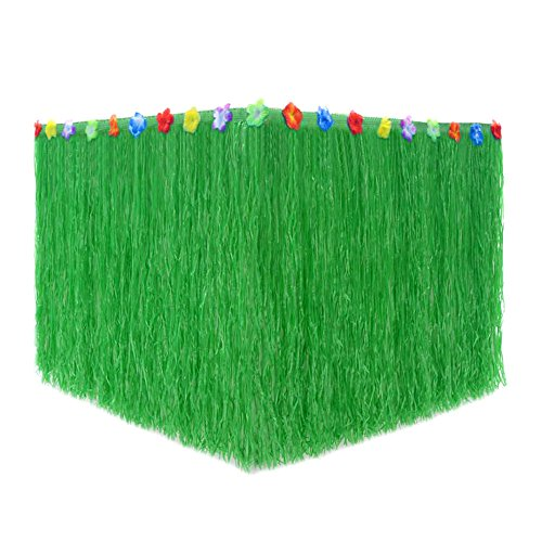 (Hawaiian Grass Table Skirt with Flower Trim,9ft Perfect Themed Party Decorations for Tiki Bars and luau Birthday Party)
