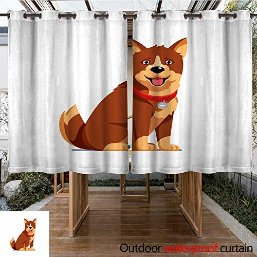 RenteriaDecor Outdoor Curtains for Patio Waterproof Domestic pet Wearing red Collar with tag Brown Sitting Dog Flat Style Vector W96 x L72