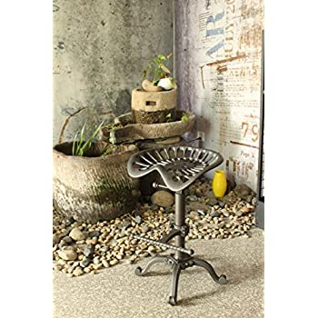 Topower Industrial Design Metal Adjustable Height Saddle tractor Bar Stool (RUSTIC BROWN)