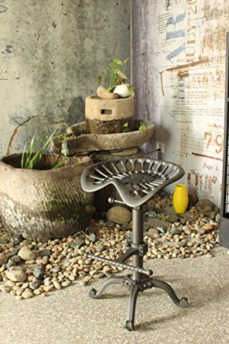 Industrial Design Metal Adjustable Height Saddle tractor Bar Stool (RUSTIC (Tractor Seat Stool)