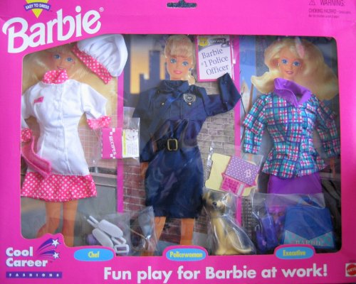 Barbie Cool Career Fashions CHEF, POLICE OFFICER w Dog & EXECUTIVE (1995 Arcotoys, Mattel) by Barbie